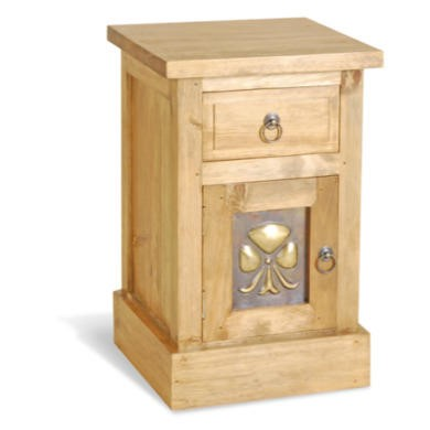 Classic Pine Brass Panel Bedside Table