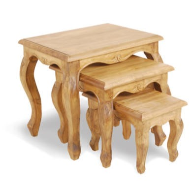 Classic Pine Nest of Carved Tables