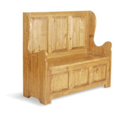 Classic Pine 3 Seat High Back Bench Furniture123
