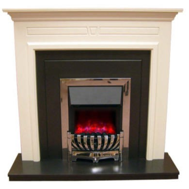 Be Modern Kingston White Finish Electric Fireplace Suite