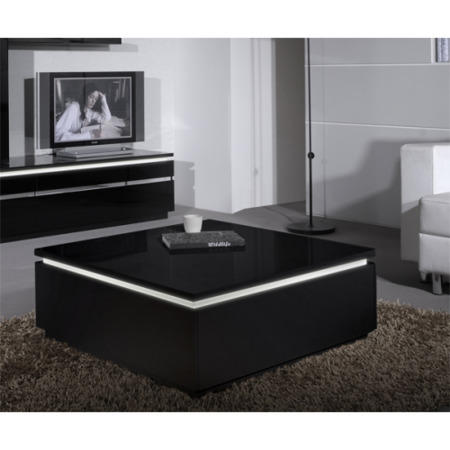 Skylight Electra High Gloss Coffee Table In Black With Led Lighting Furniture123