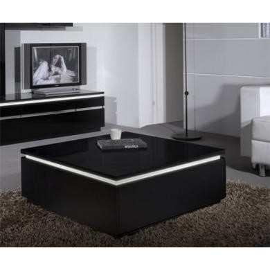 Skylight Electra High Gloss Square Coffee Table In Black With Led Lighting Furniture123