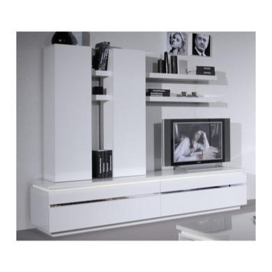 Sciae Electra White High Gloss Wall Hung Storage Cupboard - 2 Shelves