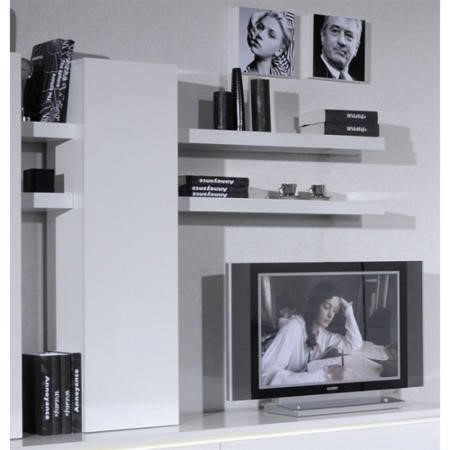 Sciae Electra High Gloss White 1 Door Wall Unit with 4 Shelves