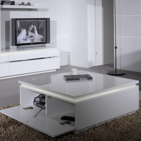 Skylight Electra High Gloss Coffee Table In White With LED Lighting