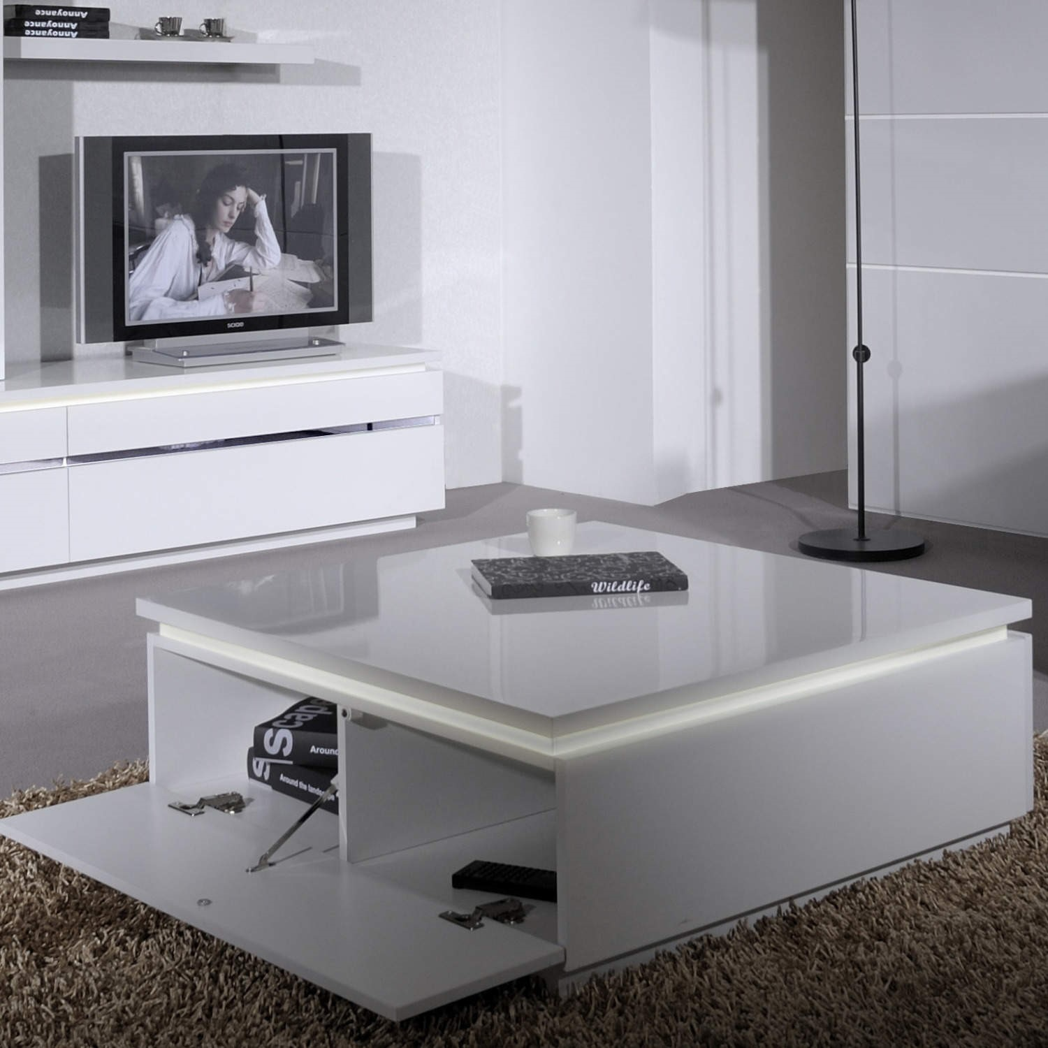 skylight electra high gloss coffee table in white with led