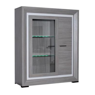 Sciae Lynea Display Cabinet in Teak and Glass