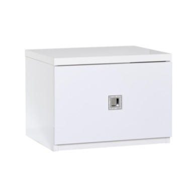 Sciae Strass Lacquered White Gloss and Rhinestone Bedside Table