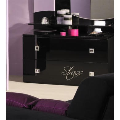 Sciae Strass High Gloss Black Chest of Drawers with Rhinestones