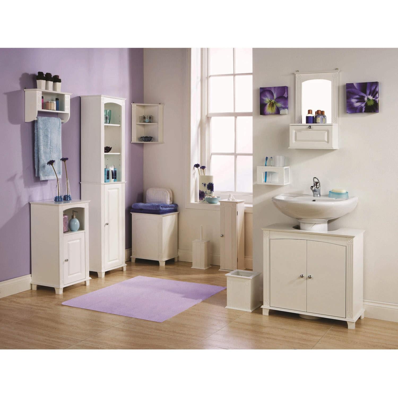 Mountrose Athens White Bathroom Corner Shelf Furniture123
