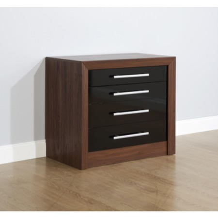 Mountrose biarritz 4 drawer chest in black gloss and for Furniture 123 code
