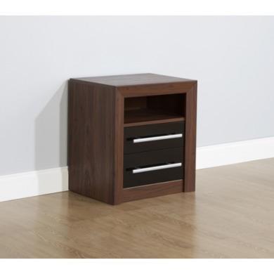 mountrose biarritz 2 drawer bedside table in black gloss and walnut furniture123. Black Bedroom Furniture Sets. Home Design Ideas