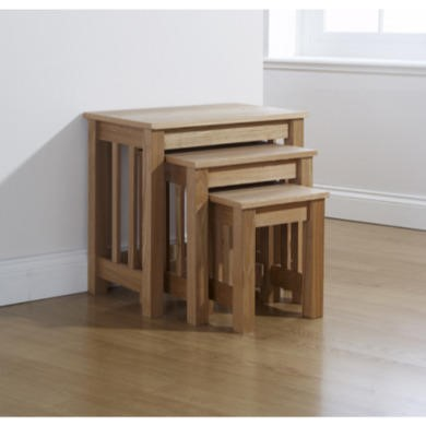 Mountrose Ashford Solid Wood Nest Of Tables with Ash Veneer