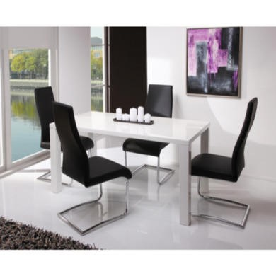 Wilkinson Furniture Neos Dining Set in White High Gloss with Black Chairs