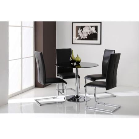 Wilkinson Furniture Orbit Black Glass Round Dining Table