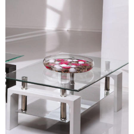 Wilkinson Furniture Calico Glass Top Coffee Table In White