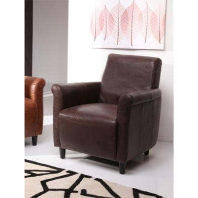Wilkinson Furniture Vintage Leather Effect Armchair in Chocolate Brown
