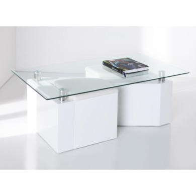 Wilkinson Furniture Ludo Coffee Table in White and Glass