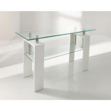 Wilkinson Furniture Cailco Glass Top Console Table in White