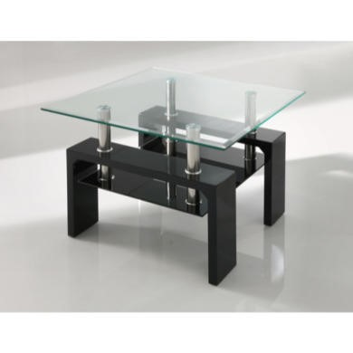 Wilkinson Furniture Calico Glass Top Lamp Table in Black