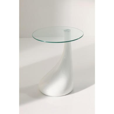 Wilkinson Furniture Loft Glass Top Side Table in White