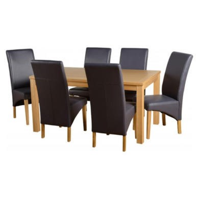Seconique Belgravia Dining Set in Natural Oak with Charcoal Chairs