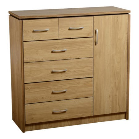 Seconique Charles 1 Door 6 Drawer Chest in Oak