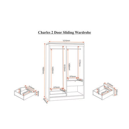 Seconique Charles 2 Door Sliding Wardrobe in Oak