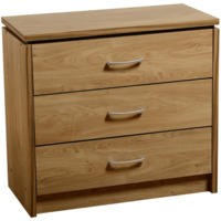 Seconique Charles 3 Drawer Chest in Oak