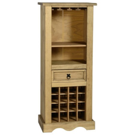 Seconique Drinks Cabinet in Original Corona Pine with Wine Rack & Storage