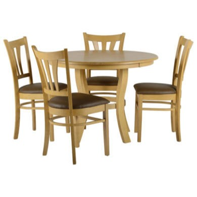 Seconique Grosvenor Round Dining Set in Natural Oak