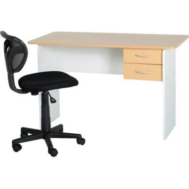 Seconique Jenny 2 Drawer Study Desk in Beech and White