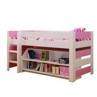 Seconique Lollipop Girls Mid Sleeper Bed in White and Pink