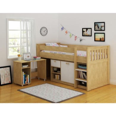 Seconique Merlin Study Bunk in Beech and White