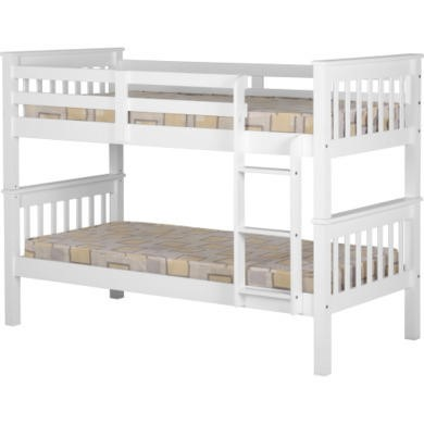 Seconique Neptune Bunk Bed in White - bed frame only