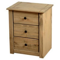 Seconique Panama Solid Pine 3 Drawer Bedside Chest