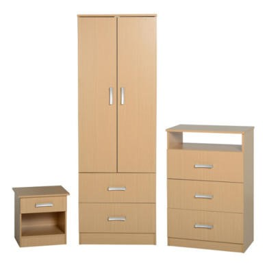 Seconique Polar Bedroom Set in Beech