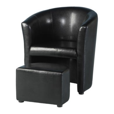 FOL076989 Seconique Tempo Tub Chair with Footstool in Black