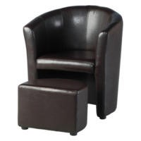 Seconique Tempo Tub Chair with Footstool in Brown