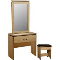 Seconique Charles 1 Drawer Dressing Table Set in Oak