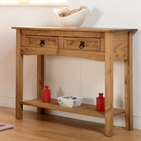 Seconique Original Corona Pine 2 Drawer Console Table with Shelf