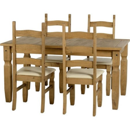 Seconique Corona Pine Dining Set + 4 Dining Chairs With Cream PU Seats