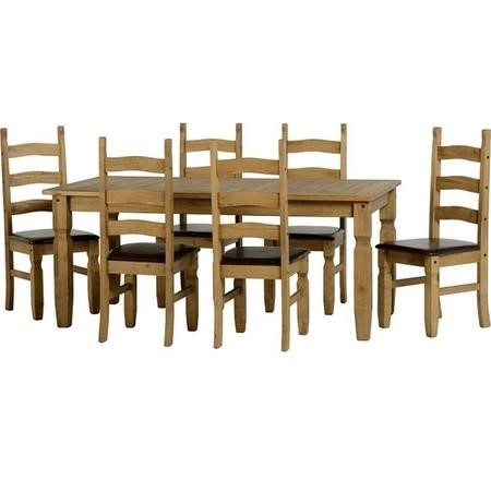 Seconique Corona Pine Dining Set + 6 Brown Faux Leather Dining Chairs