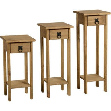 FOL077134 Seconique Original Corona Pine Set of 3 Plant Stands