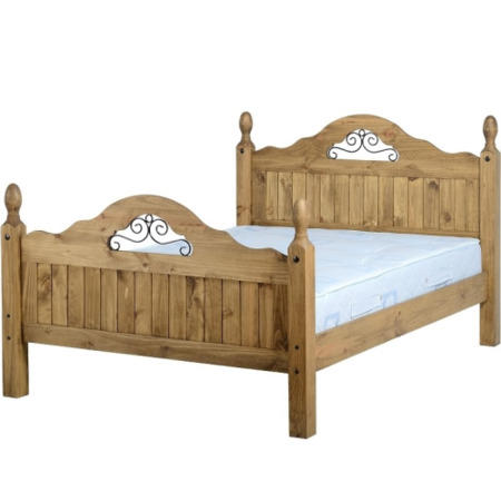 Original Corona Solid Pine Double Scroll Bed Frame