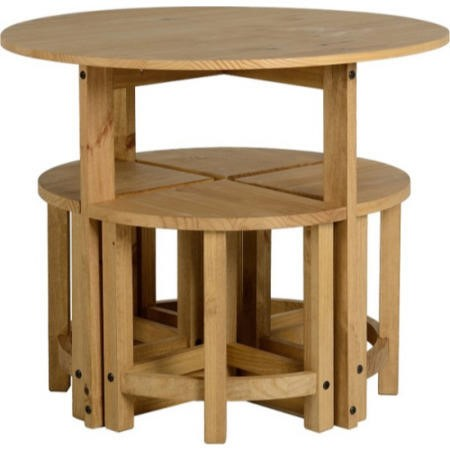 Seconique original corona pine stowaway dining set for Stowaway dining table