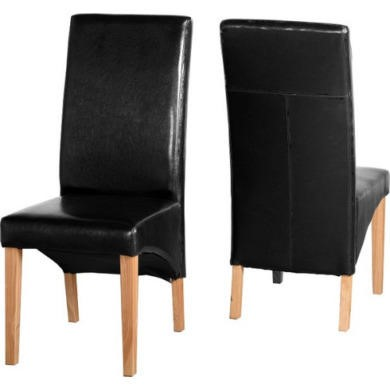 Pair of Black Faux Leather Dining Chairs Seconique G1