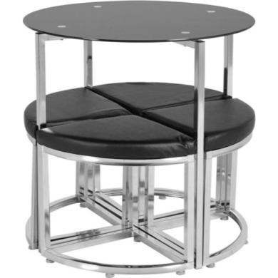 Seconique Grafton Stowaway Black Glass Dining Set