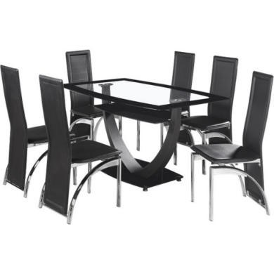 Seconique Henley Dining Set in Glass and Black