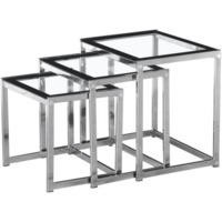Seconique Henley Nest of Tables in Glass and Black